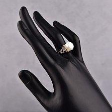 Серебряное кольцо Беатриче с жемчугом, сапфирами и фианитами