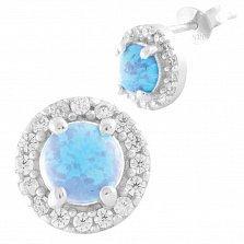 Серебряные серьги Дагмар с голубыми опалами и фианитами