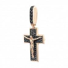 Крестик из красного золота Свет жизни с черными фианитами