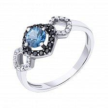Серебряное кольцо Агнесса с голубым кварцем, черными и белыми фианитами