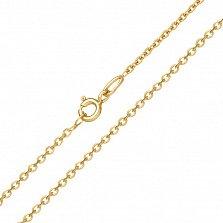 Золотая цепочка Якорка в желтом цвете с гранеными звеньями и родием, 1,5мм