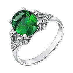 Серебряное кольцо с зеленым кварцем и фианитами 000137820