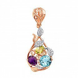 Золотой кулон в комбинированном цвете с хризолитом, аметистом, голубым топазом и фианитами 000125330