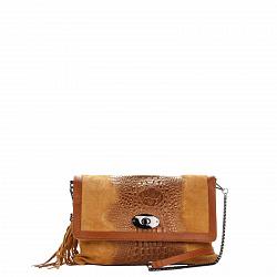 Кожаная сумка на каждый день Genuine Leather 8433 коньячного цвета с клапаном и ручкой-цепочкой