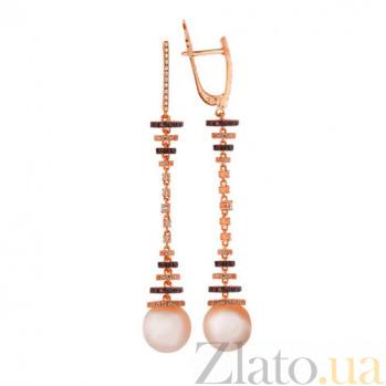Серьги-подвески из красного золота с разноцветным цирконием и розовым жемчугом Аделина VLT--ТТ2293-2