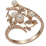 Золотое кольцо Сабина с жемчугом и фианитами