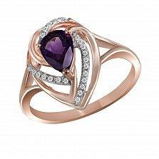 Кольцо из красного золота Наталья с аметистом и бриллиантами