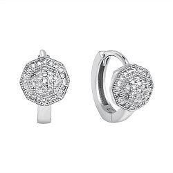 Серебряные серьги-конго с фианитами, 13мм 000118208