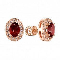 Серьги из красного золота с гранатами и фианитами 000135036