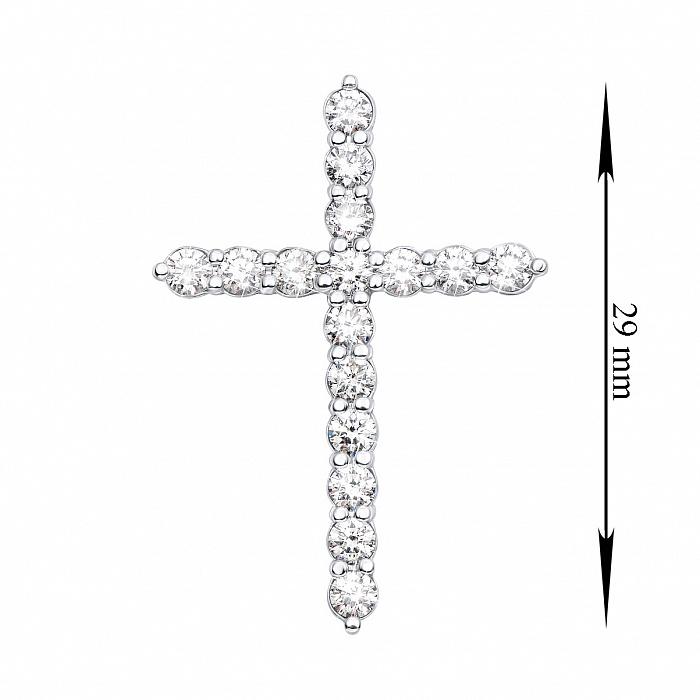 Декоративный крестик из белого золота с бриллиантами 000136818 000136818