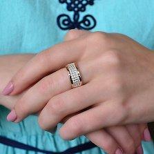 Серебряное кольцо Каролина с золотыми вставками и фианитами