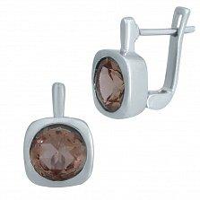 Серебряные серьги Миррей с завальцованными султанитами