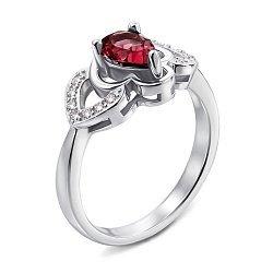Серебряное кольцо с рубином и фианитами 000137236