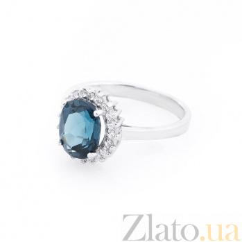 Серебрное кольцо Валерия с топазом лондон и фианитами 000062898
