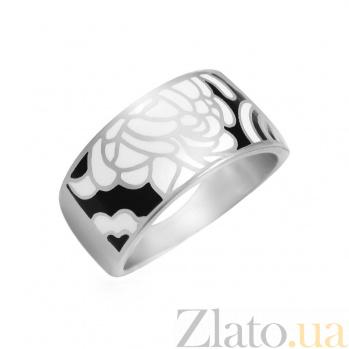 Серебряное кольцо Мир цветов с белой и черной эмалью 000081560