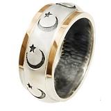 Серебряное кольцо с золотой вставкой и эмалью Стамбул