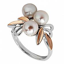 Серебряное кольцо Магнолия с жемчугом и золотыми вставками