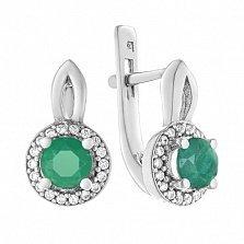 Серебряные серьги Линара с зеленым агатом и фианитами