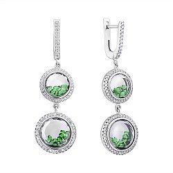 Серебряные серьги с зелеными и белыми фианитами 000060362