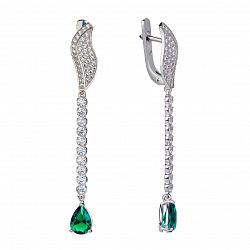 Серебряные серьги-подвески Лусия с зеленым алпанитом и фианитами 000072307