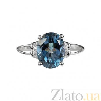 Золотое кольцо с голубым топазом и бриллиантами Бездна чувств 000026515