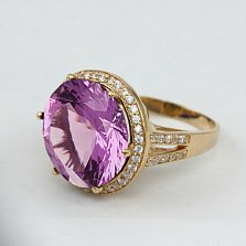 Золотое кольцо с аметистом и фианитами Успех