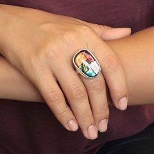 Серебряное кольцо Лед и пламя с имитацией опала