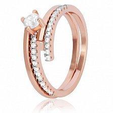Позолоченное серебряное кольцо Эрманс с фианитами