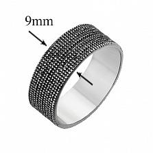 Серебряное чернёное кольцо Сетка