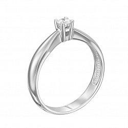 Кольцо в белом золоте сбываются с бриллиантом 000117590