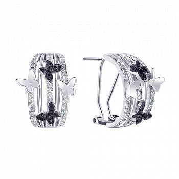 Серебряные серьги с черными и белыми фианитами 000113728