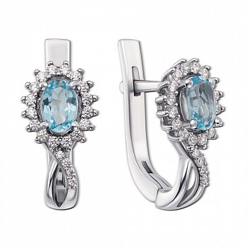 Серебряные серьги с топазами Swiss blue и фианитами 000138516