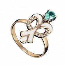 Кольцо в красном золоте Скарлетт с зеленым кварцем, эмалью и фианитами