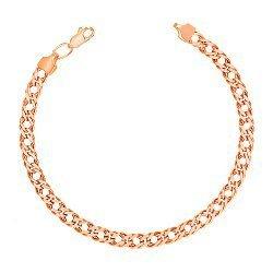 Браслет из красного золота в плетении ромб с алмазной гранью 000131645