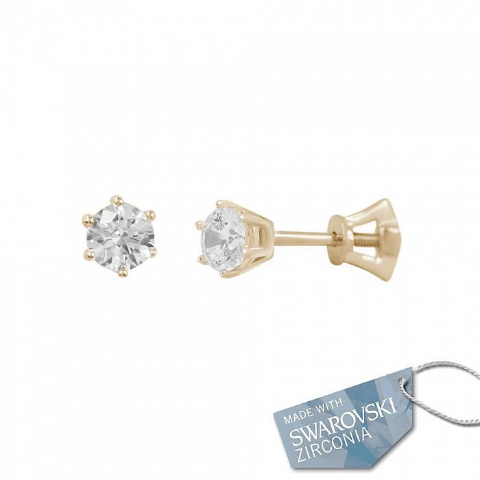 Серьги-пуссеты из красного золота Ева с кристаллами Swarovski  000081480