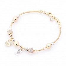 Золотой браслет Сердечко-замочек и ключик в комбинированном цвете с фианитами