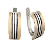 Серебряные серьги с золотыми вставками Маренго