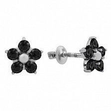 Серебряные пуссеты Нарцисс с черным цирконием