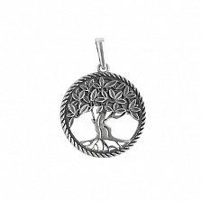 Серебряный подвес-оберег Дерево Жизни с чернением