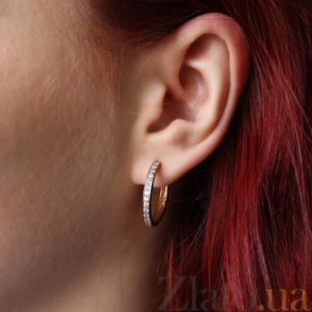 Золотые серьги-кольца Аделин с цирконием EDM--С0281