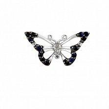 Кулон из белого золота с бриллиантами и сапфирами Роскошная бабочка