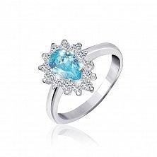 Кольцо из серебра с голубым фианитом Белинда