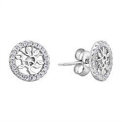 Серебряные серьги-пуссеты с фианитами 000132633