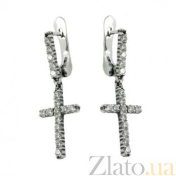 Серебряные серьги-подвески Циркониевый крест 02152