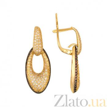 Серьги из желтого золота с цирконием Анжела VLT--ТТ285-1