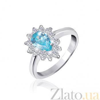 Кольцо из серебра Пенелопа с голубым и белыми фианитами 000025470