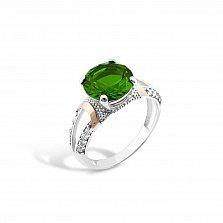 Серебряное кольцо Октавия с золотыми накладками зеленым алпанитом и белыми фианитами