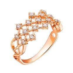 Кольцо-корона из красного золота с фианитами 000001073