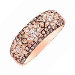 Золотое кольцо Три звезды с белыми бриллиантами и цвета шампань 000080861