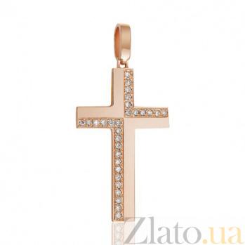 Крестик из красного золота Статус с бриллиантами EDM--КР7149